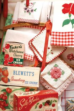 Vintage Red and White Kitchen Treasures i have some original cherry candy boxes yah