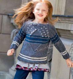 Пуловер для девочки. Спицы