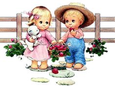 Eating Strawberries - Little Country Boy & Girl {Ruth Morehead Graphics}
