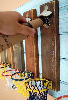 Wall mounted bottle opener, wooden beer bottle opener, cap catcher, basket, basketball More