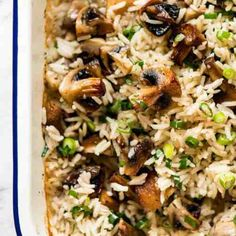 Oven Baked Mushroom Rice - buttery, garlicky, golden brown juicy mushrooms and fluffy rice, all made in one pan in the oven! Chinese Vegetables, Mixed Vegetables, Veggies, Roasted Mushrooms, Spinach Stuffed Mushrooms, Mushroom Rice, Mushroom Recipes, Seasoned Rice Recipes, Vegetarian Chicken