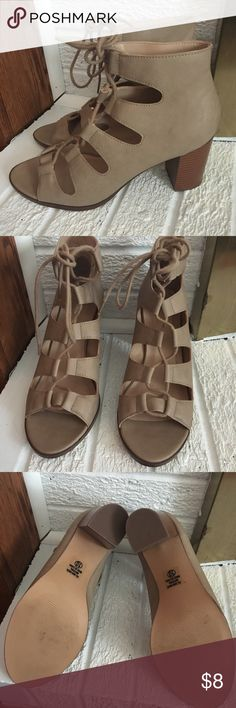 Tan lace up heels, new Brand new tan leather heels from CS. Size 10. Only worn for about 10 minutes around the house. Shoes Heels