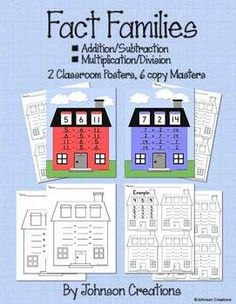 This packet includes 2 classroom posters for fact families, both for addition and subtraction and multiplication and division. There are also 6 copy masters for students to practice- a large blank house for +/- and one for x/, and 4 sheets of 4 houses for practice, some with examples, some plain.