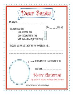 Santa letter printable that children can use to make their Christmas wish list.  Tick the boxes and draw pictures to let Santa know how good or naughty you have been!  Perfect for younger kids who aren't able to write much. | Bunny Peculiar Printables