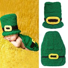 St. Patrick's Day Crochet Green Leprechaun Hat and Diaper Cover Set - Baby Boys or Girls - Photo Prop on Etsy, $35.00