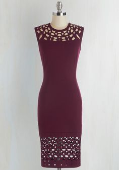 Grand Gallery Dress in Burgundy. When you need a classic look with a twist that you can wear to an art gallery opening, reach for this burgundy dress! #red #modcloth