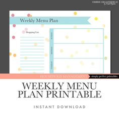 Weekly menu plan printable  Instant download by OmbreOrganizers, $2.99
