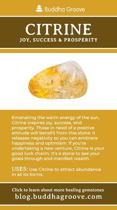 Citrine - Joy, Success, and Prosperity Crystals Minerals, Rocks And Minerals, Crystals And Gemstones, Stones And Crystals, Healing Gemstones, Gem Stones, Crystal Magic, Crystal Healing Stones, Crystal Meanings