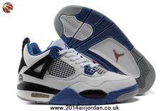 White-Black/Blue Air Jordan IV (4) Retro For Sale