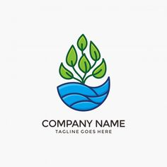 Nature Water Logo Design With Green Plant. Water and plant logo design for your company River Logo, Nature Photography Quotes, Environment Logo, Tea Logo, Plant Logos, Green Logo, Nature Water, Badge Design, Logo Design Inspiration