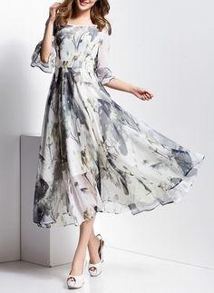 Mousseline Florale Manches 3/4 Mi-mollet Vintage Robes (1955103752)