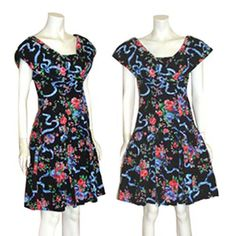 1980s Vintage  Drop Waist Dress Ribbon Floral Print Full Skirt  #Fame