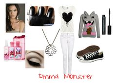 """Imma Monster <3"" by takemeaway99 ❤ liked on Polyvore featuring David & Goliath, H&M, MANGO, Converse and MAC Cosmetics"