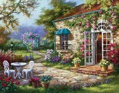 Garden Landscape Paint by Number Kit, Flower Art DIY Painting on canvas paint coloring by number DIY Gift for Adult Decor idea Garden Painting, Diy Painting, Painting Prints, Art Print, Painting Classes, Painting Canvas, Canvas Art, Landscape Art, Landscape Paintings