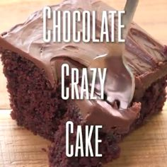 Chocolate Crazy Cake Crazy cake also known as Wacky Cake & Depression Cake - No Eggs, Milk, Butter, Bowls or Mixers! Super moist and delicious. Go-to recipe for egg/dairy allergies. Great activity to do with Best Vegan Chocolate, Chocolate Banana Bread, Chocolate Recipes, Cake Chocolate, Chocolate Shavings, Chocolate Buttercream, Chocolate Muffins, Gluten Free Chocolate, Dairy Free Snacks