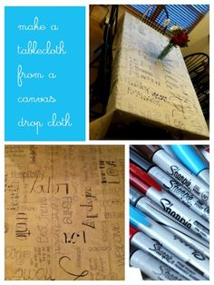Make a Tablecloth from a Canvas Drop Cloth | Life as MOM - create a beautiful homemade keepsake for a gift this year or do it on the spot with family and friends.