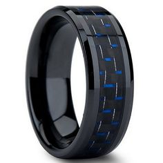 Black tungsten ring with blue and black carbon fiber inlay.