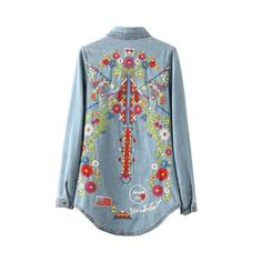 Women Embroiderey Denim Shirt with Flowers Long Sleeve Blouse and Tops – Lifestyleshopee.com