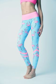 5604ef43860c68 Flamingo Pink and Blue Yoga Leggings by Flexi Fash #leggings  #flamingoleggings #yogaleggings #