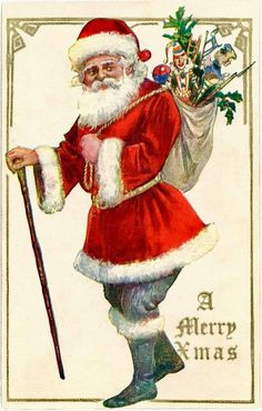 """A Merrie Christmas"" Santa Claus with a Cane, Toys, Antique Christmas Postcard Vintage Santa Claus, Vintage Santas, Vintage Christmas Images, Vintage Holiday, Primitive Christmas, Antique Christmas, Father Christmas, Santa Christmas, German Christmas"