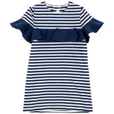 Stripe print dress with a flounce