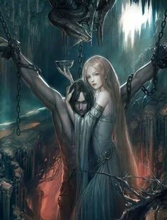 Saw this beautiful image of Loki and his wife Sigyn the other day and I cannot remember where! It really resonated with me and one day I'm hoping to print it and put it above my shrine.