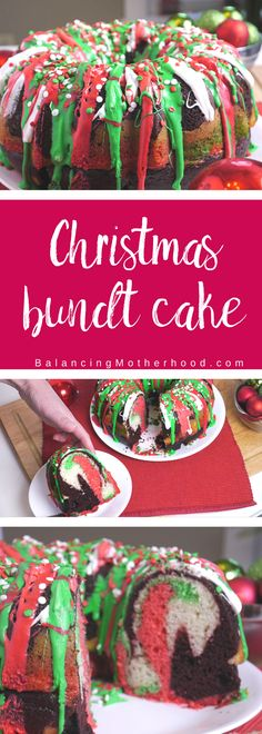 The perfect Christmas cake that will wow your guests. This Christmas bundt cake uses boxed cake mix which makes it super quick to get this on your Christmas table. It's such a fun cake and is perfect for a Christmas party, holiday potluck, or Christmas dessert. Try it this year. Click through to get the step by step instructions to replicate this at home!