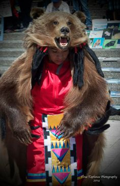 Laura Grizzlypaws from St'at'imc Territory performing her Grizzly Dance at the Vancouver Art Gallery at the Idle KNOW More Rally, April 2014