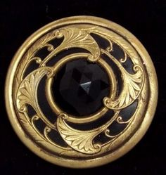 LARGE PIERCED BRASS OVER CELLULOID GAY 90'S BUTTON BLACK GLASS CENTER JEWEL