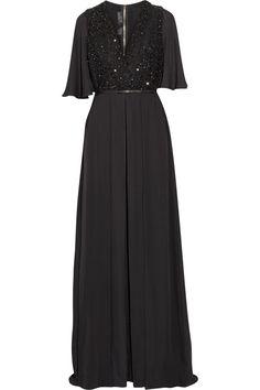 ELIE SAAB Embellished Tulle-Paneled Silk-Chiffon Jumpsuit. #eliesaab #cloth #jumpsuit