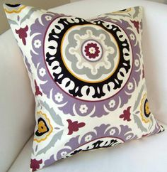 Purple Suzani Purple Pillow Cover 18 or 20  Inch Decorative Throw Pillow Cushion  Accent