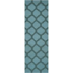 "Chatham  Sea Blue, Teal   2'6"" x 8'  Wool  www.colonyrug.com"