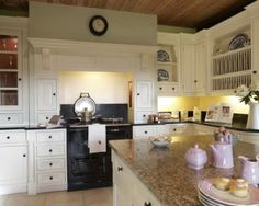 Hand Painted Kitchens at Natural Wood  Perfect kitchen island for a country kitchen.