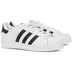 Womens Low-Top Trainers Adidas Originals Superstar White Leather... (£70) ❤ liked on Polyvore featuring shoes, sneakers, leather lace up sneakers, lacing sneakers, adidas originals sneakers, leather cap and adidas originals shoes