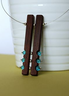 blue beads and wood necklace Great wrok fro more wood jewelry please vist my shop http://ezekielhandmade.etsy.com