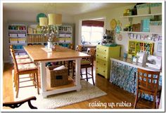 Like the layout: cutting table to sewing counter.  dresser to store supplies.