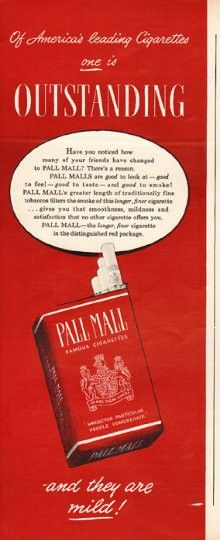 """1948 PALL MALL CIGARETTES vintage magazine advertisement """"Outstanding"""" ~ Of America's leading Cigarettes on is Outstanding - Have you noticed how many of your friends have changed to Pall Malls? There's a reason. Pall Malls are good to look at -- ..."""