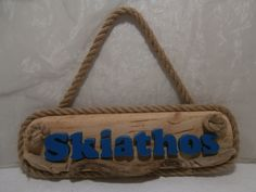 Made by The Craft-e-Art Company Driftwood Signs, Skiathos, House Names, Name Plaques, Hanging Signs, Lettering, Handmade, Crafts, Home Decor