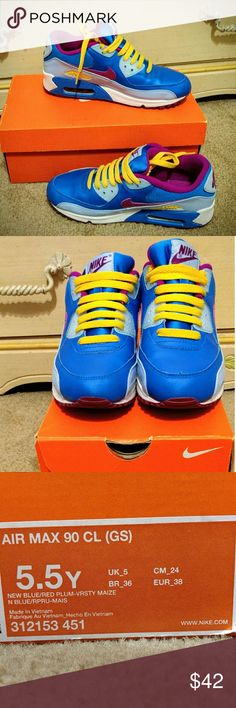 Awesome Nike Air Max Sneakers, nearly new, 7.5 Love these blue and yellow and purple Nike Air Max sneakers. So comfy and has great support. Great condition, some wear on sides by the heel. Size 5.5 youth, or 7.5 women. Nike Shoes Athletic Shoes
