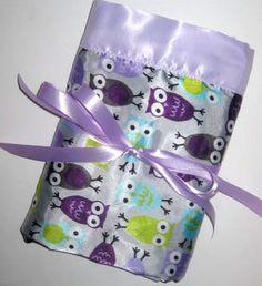 Satin Owl Lovey Blanket in Lavender by henryandzoe on Etsy, $22.00