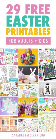 Get your pencils out and enjoy these free Easter printable activities for adults and kids! The whole family can color together or create something special. Check out all the free printables at sarahrenaeclark.com #eastercraft #printables #freeprintables
