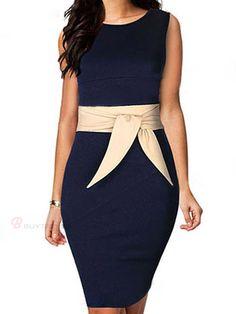 Elegant Sleeveless Bowknot Belt Patchwork Women's Work Dress - BuyTrends.com