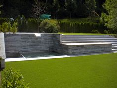 Contemporary Back Yard.Water feature and large narrow steps. Contemporary Water Feature, Water Features, Yard, Outdoor Decor, Home Decor, Water Sources, Patio, Decoration Home, Room Decor
