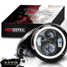 Halo LED DayMaker style motorcycle headlight.
