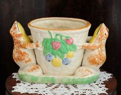 Vintage Whimsical Japanese Majolica Vase SPONGE HAND PAINTED Frogs Made In Japan in Pottery & Glass, Pottery & China, Art Pottery   eBay