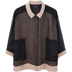 Rag & Bone Summer Sion Blouse ($179) ❤ liked on Polyvore featuring tops, blouses, shirts, blusas, women, sheer sleeve blouse, sheer shirt, transparent shirt, 3/4 sleeve shirts and sheer silk blouse