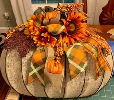 Fall Harvest Decorations, Fall Door Decorations, Thanksgiving Decorations, Fall Decor, Pumpkin Decorations, Dollar Tree Decor, Dollar Tree Crafts, Fall Mesh Wreaths, Weekend Crafts