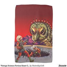 Vintage Science Fiction Giant Centipede Insect War Tea Towel