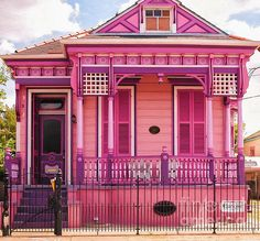 Cottage Photograph - Hot Pink New Orleans Cottage by Kathleen K Parker Victorian Cottage, Victorian Homes, Pink Houses, Old Houses, Shotgun House, Shotting Photo, House Goals, My Dream Home, House Painting