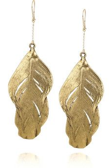 Aurélie Bidermann 18-karat gold-dipped swan feather earrings